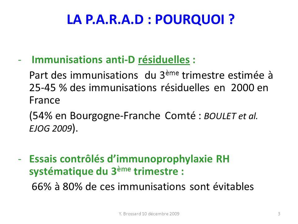 LA P.A.R.A.D : POURQUOI Immunisations anti-D résiduelles :