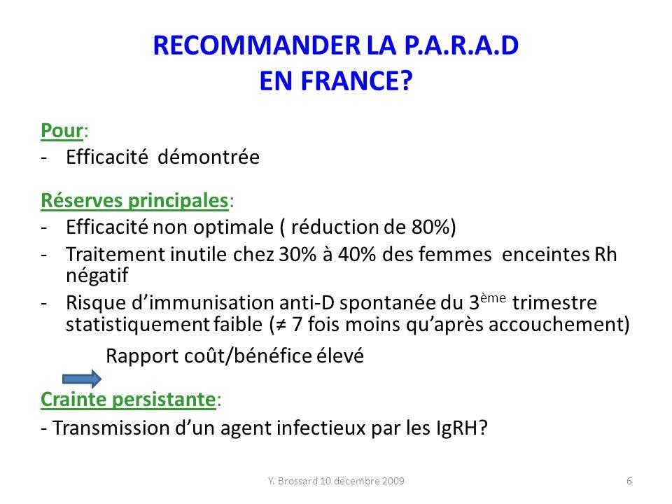 RECOMMANDER LA P.A.R.A.D EN FRANCE