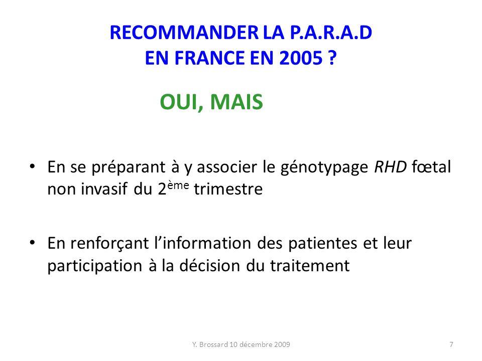 RECOMMANDER LA P.A.R.A.D EN FRANCE EN 2005