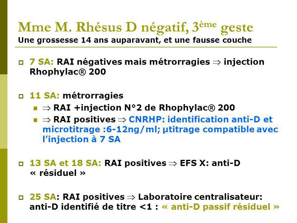 Mme M. Rhésus D négatif, 3ème geste Une grossesse 14 ans auparavant, et une fausse couche