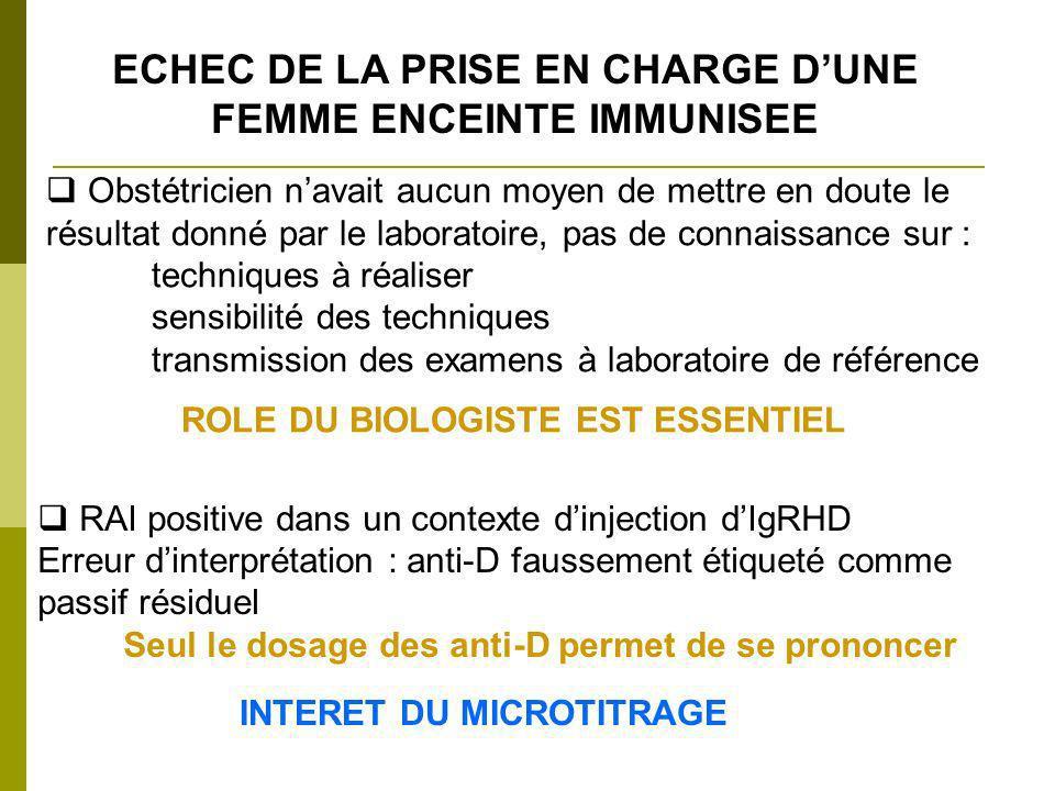 ECHEC DE LA PRISE EN CHARGE D'UNE FEMME ENCEINTE IMMUNISEE