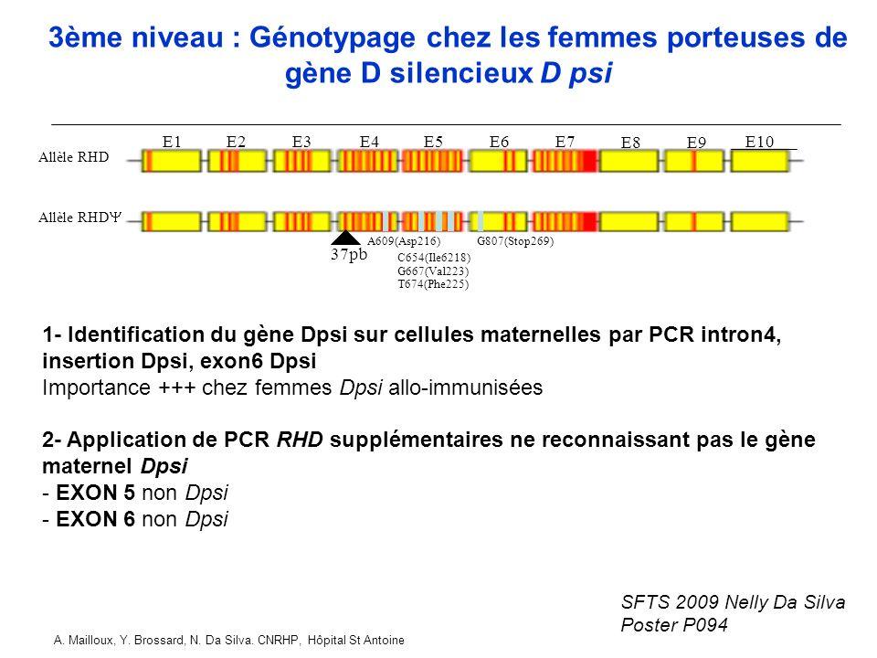 3ème niveau : Génotypage chez les femmes porteuses de gène D silencieux D psi
