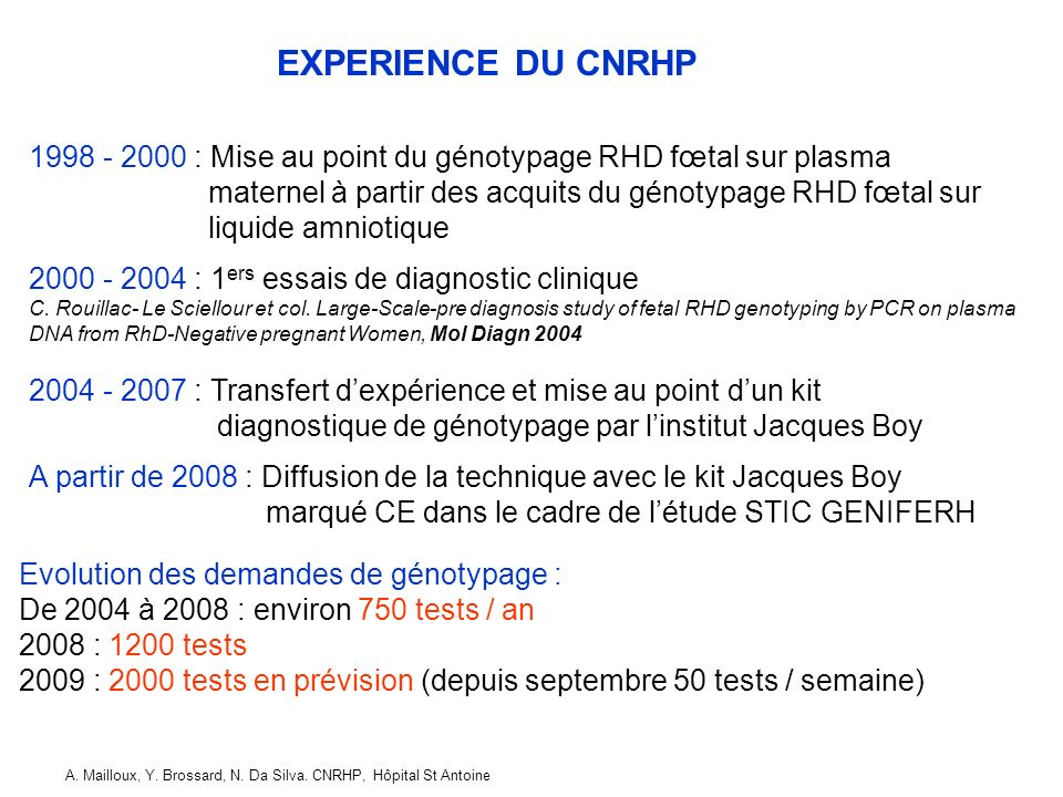 EXPERIENCE DU CNRHP