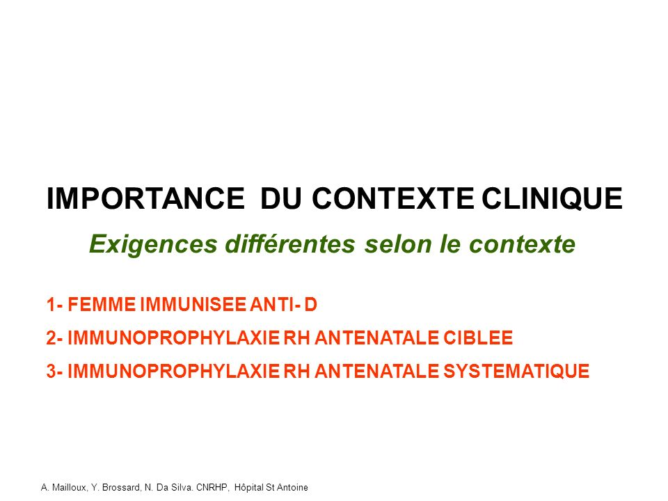 IMPORTANCE DU CONTEXTE CLINIQUE