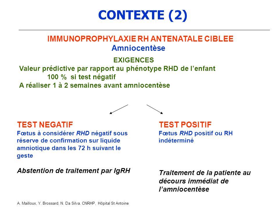 IMMUNOPROPHYLAXIE RH ANTENATALE CIBLEE