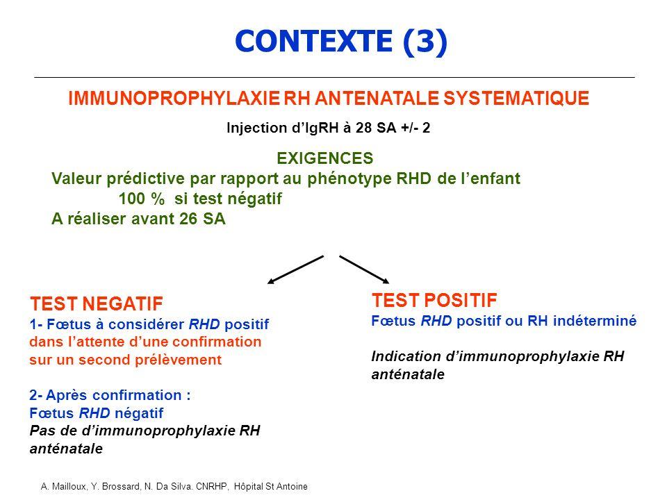 CONTEXTE (3) IMMUNOPROPHYLAXIE RH ANTENATALE SYSTEMATIQUE TEST POSITIF
