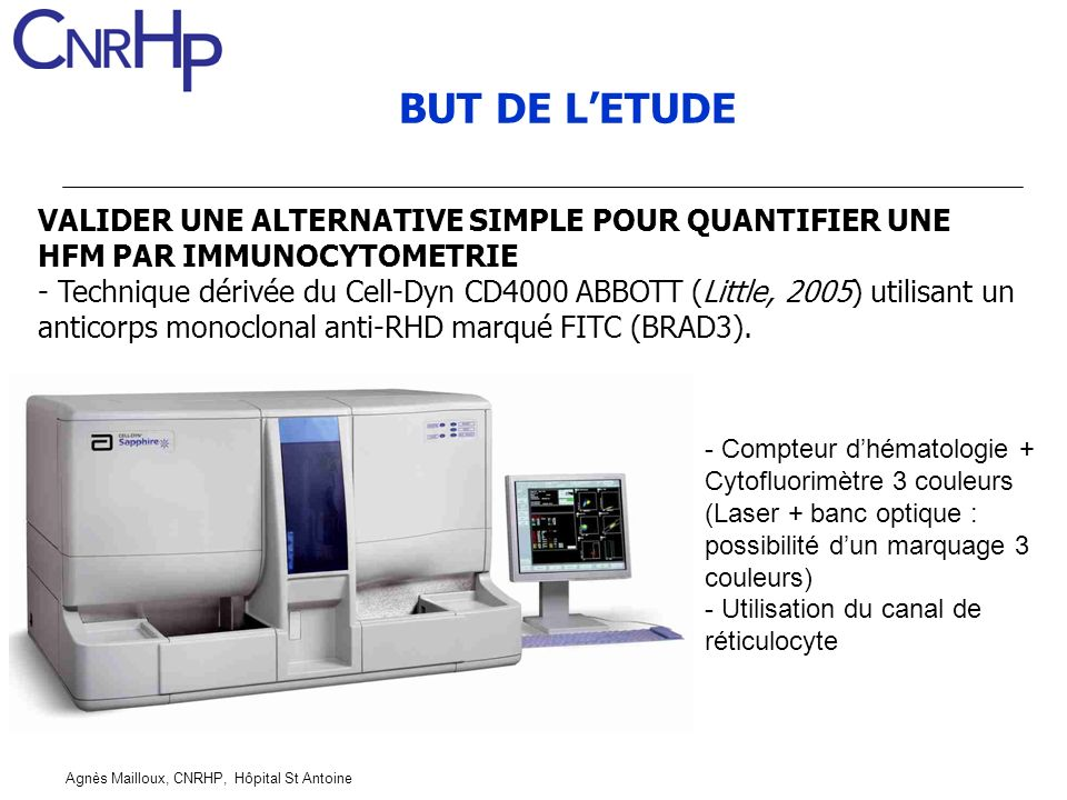 BUT DE L'ETUDE VALIDER UNE ALTERNATIVE SIMPLE POUR QUANTIFIER UNE HFM PAR IMMUNOCYTOMETRIE.
