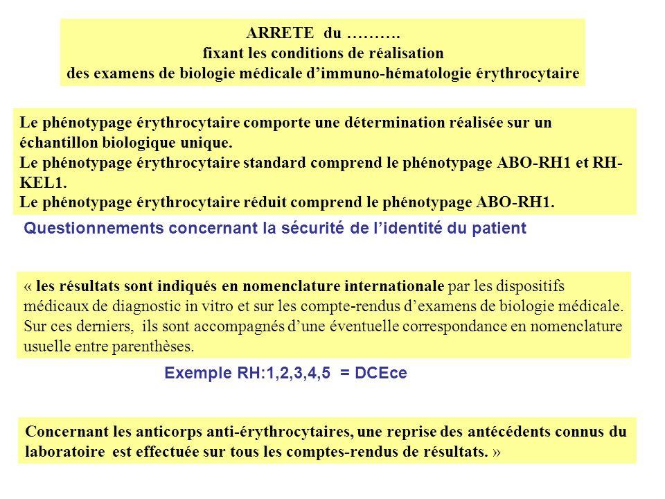 des examens de biologie médicale d'immuno-hématologie érythrocytaire