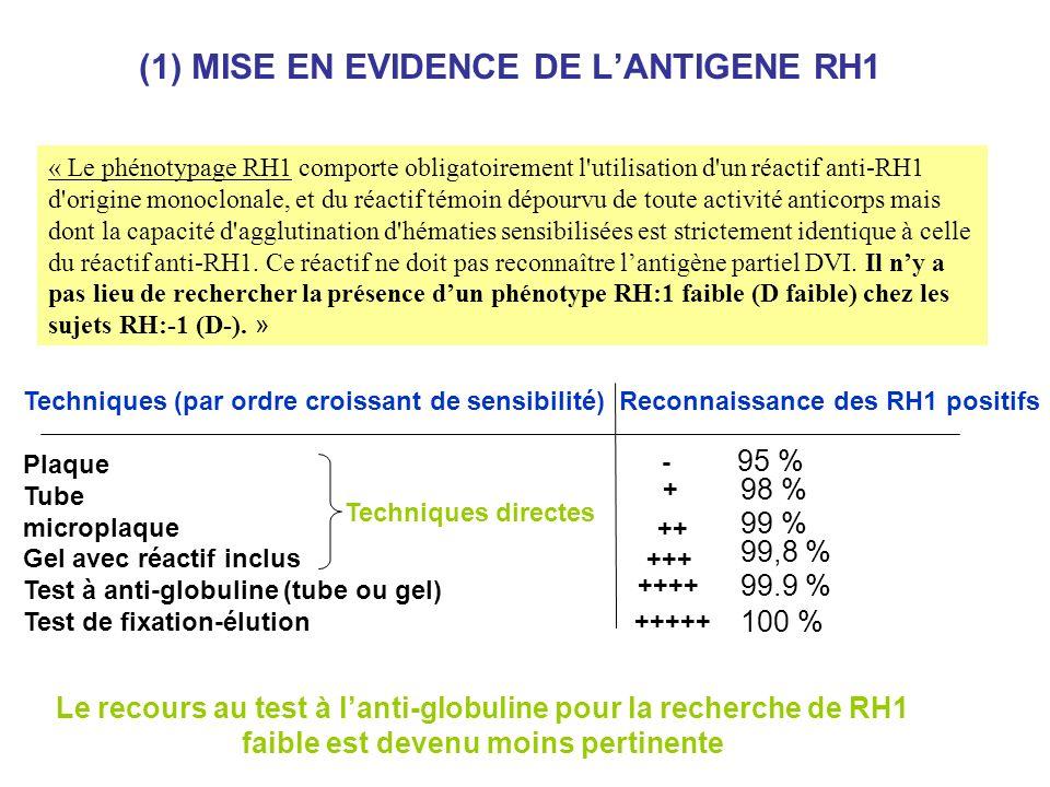 (1) MISE EN EVIDENCE DE L'ANTIGENE RH1