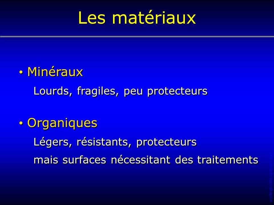 Les matériaux Minéraux Organiques Lourds, fragiles, peu protecteurs