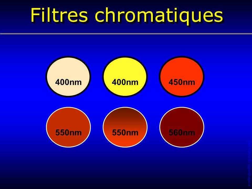 Filtres chromatiques 400nm 400nm 450nm 550nm 550nm 560nm