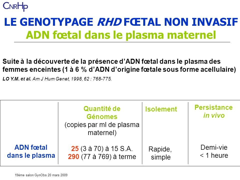 LE GENOTYPAGE RHD FŒTAL NON INVASIF ADN fœtal dans le plasma maternel