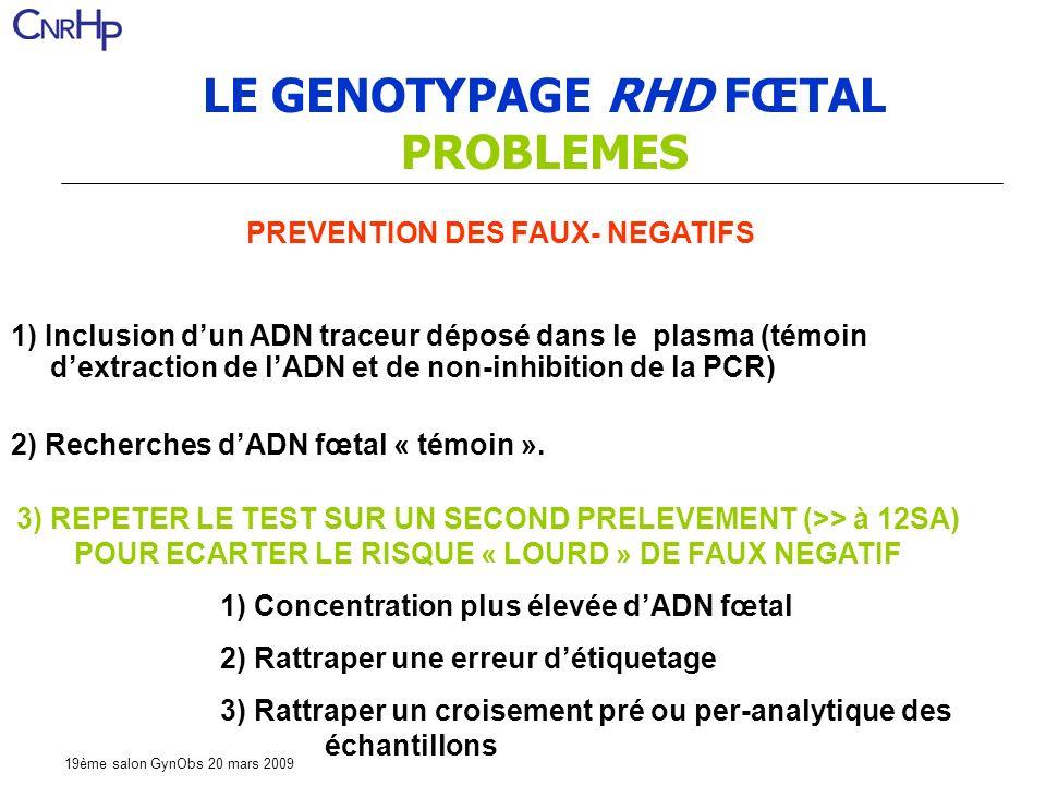 LE GENOTYPAGE RHD FŒTAL PROBLEMES