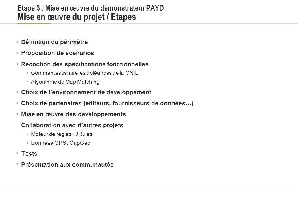 Titre du document Etape 3 : Mise en œuvre du démonstrateur PAYD Mise en œuvre du projet / Etapes. Définition du périmètre.