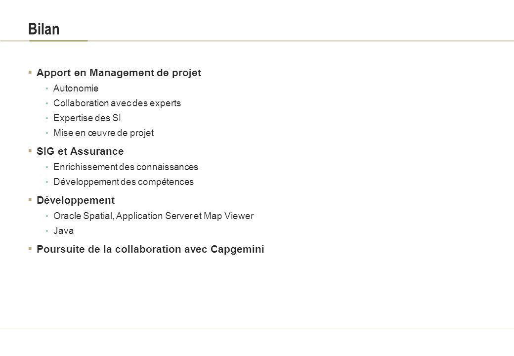 Bilan Apport en Management de projet SIG et Assurance Développement