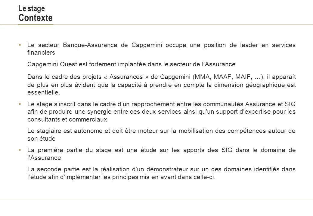 Titre du document Le stage Contexte. Le secteur Banque-Assurance de Capgemini occupe une position de leader en services financiers.
