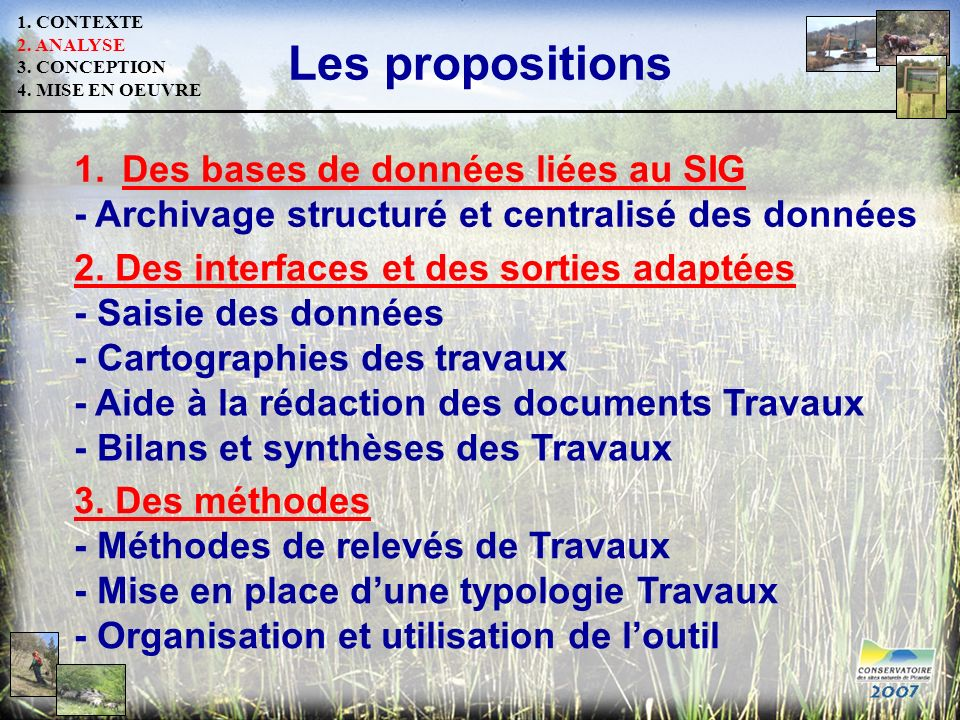 Les propositions Des bases de données liées au SIG