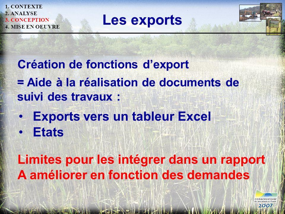 Les exports Exports vers un tableur Excel Etats