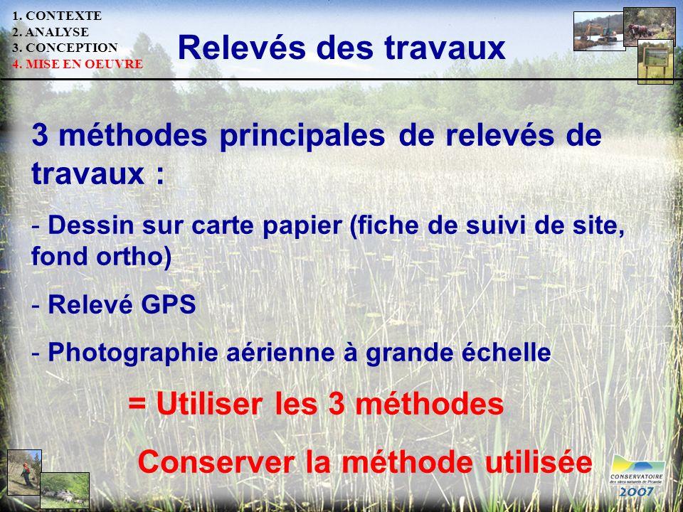 Relevés des travaux 3 méthodes principales de relevés de travaux :