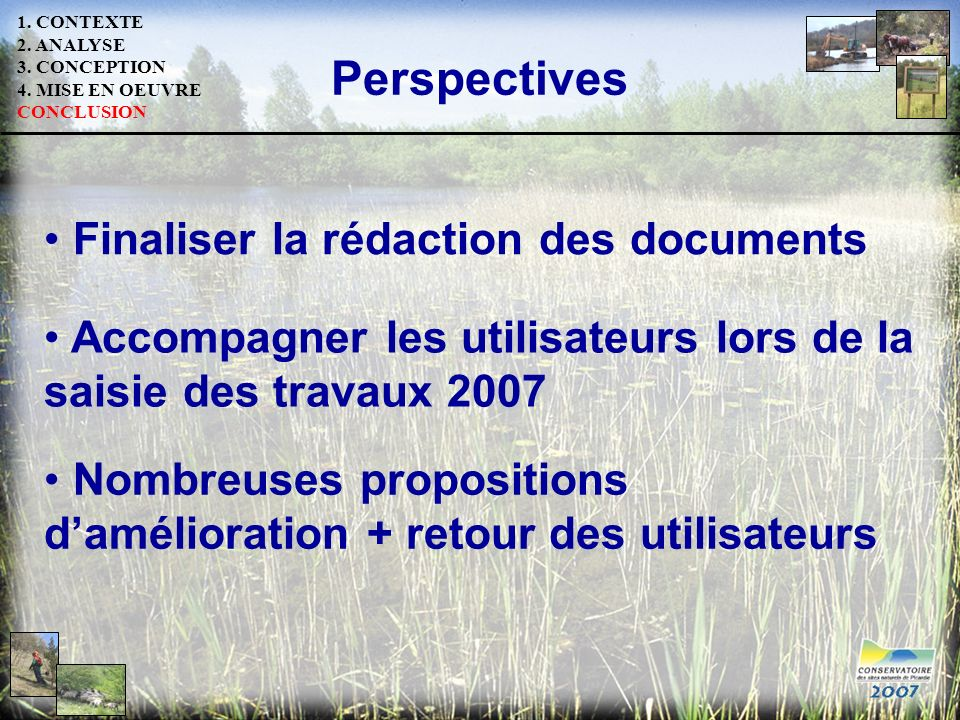Perspectives Finaliser la rédaction des documents