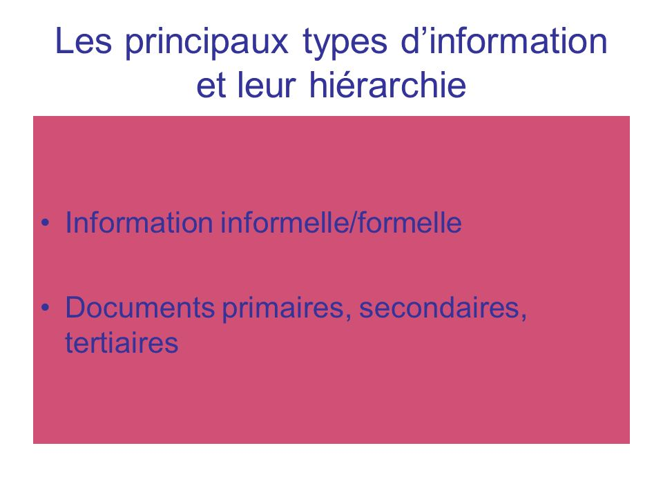 Les principaux types d'information et leur hiérarchie