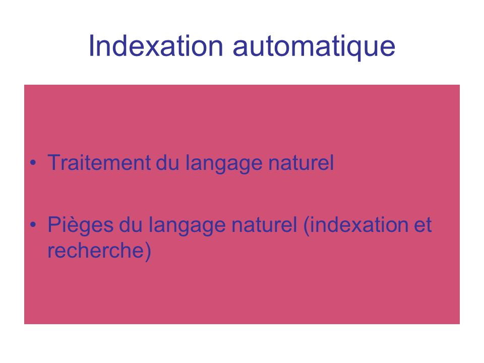 Indexation automatique
