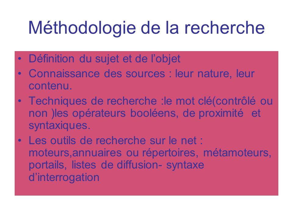 Méthodologie de la recherche
