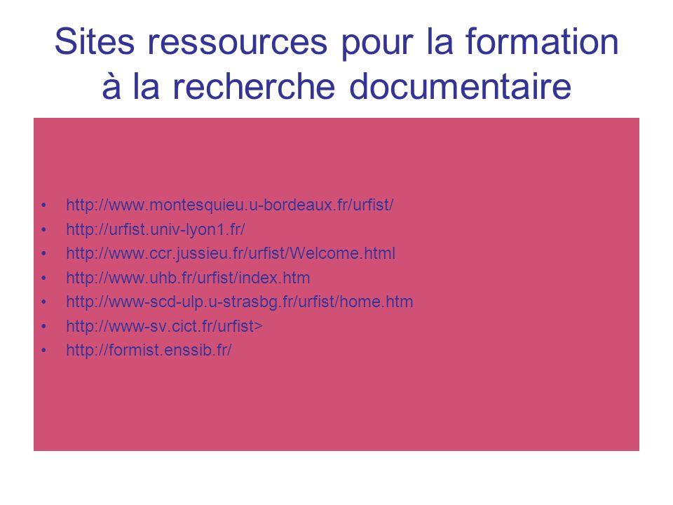 Sites ressources pour la formation à la recherche documentaire