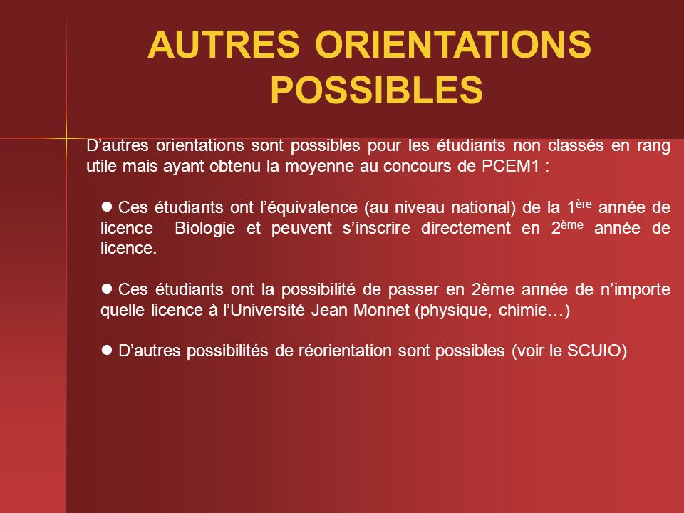 AUTRES ORIENTATIONS POSSIBLES