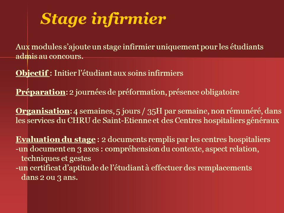 Stage infirmierAux modules s'ajoute un stage infirmier uniquement pour les étudiants. admis au concours.