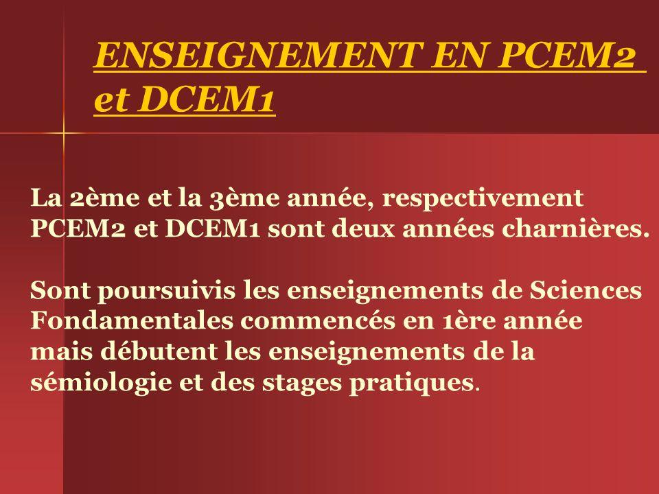 ENSEIGNEMENT EN PCEM2 et DCEM1