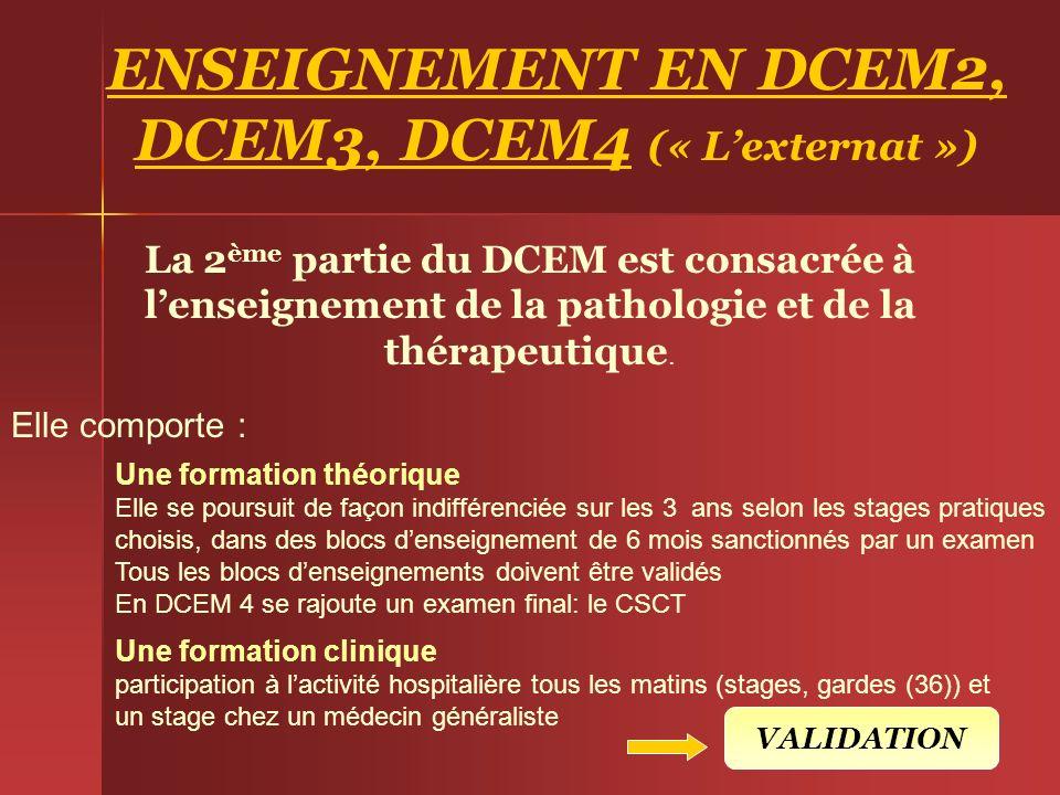 ENSEIGNEMENT EN DCEM2, DCEM3, DCEM4 (« L'externat »)