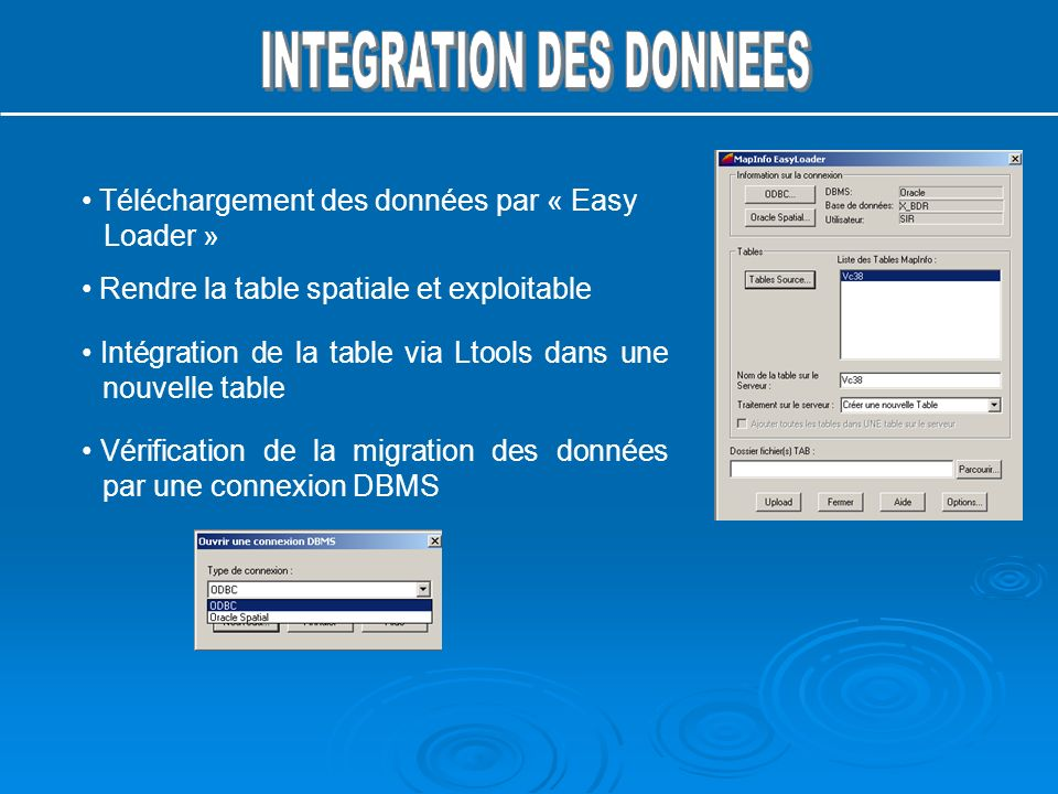 INTEGRATION DES DONNEES