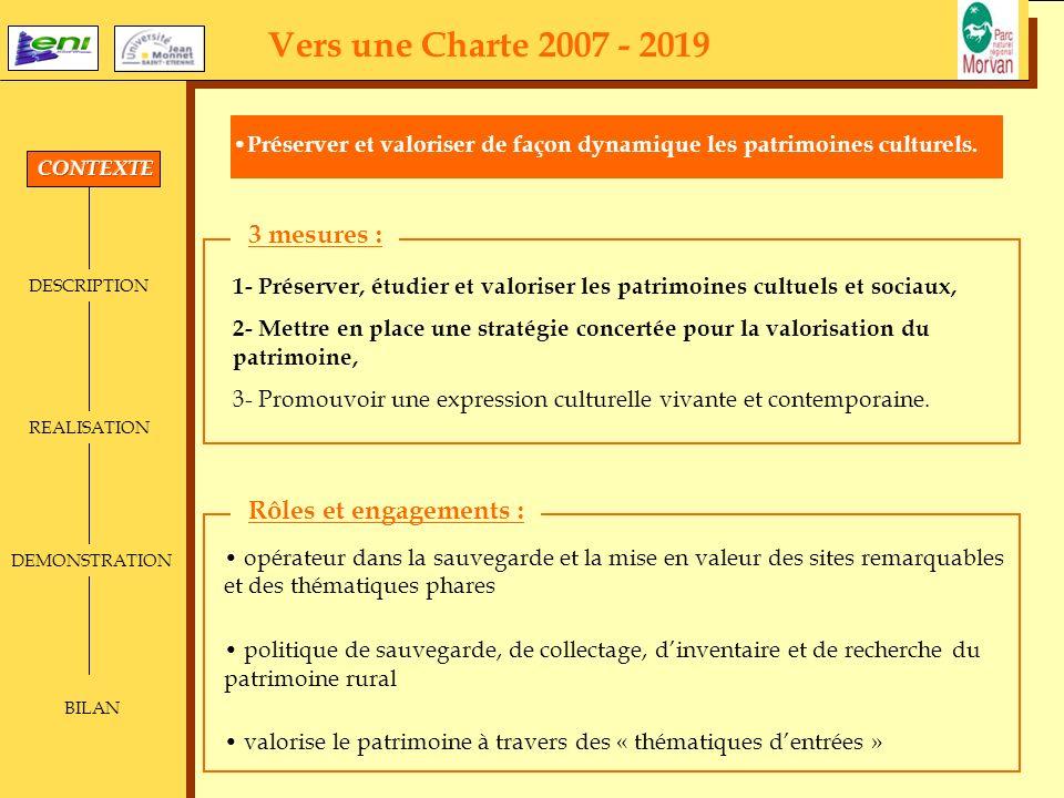 Vers une Charte 2007 - 2019 3 mesures : Rôles et engagements :