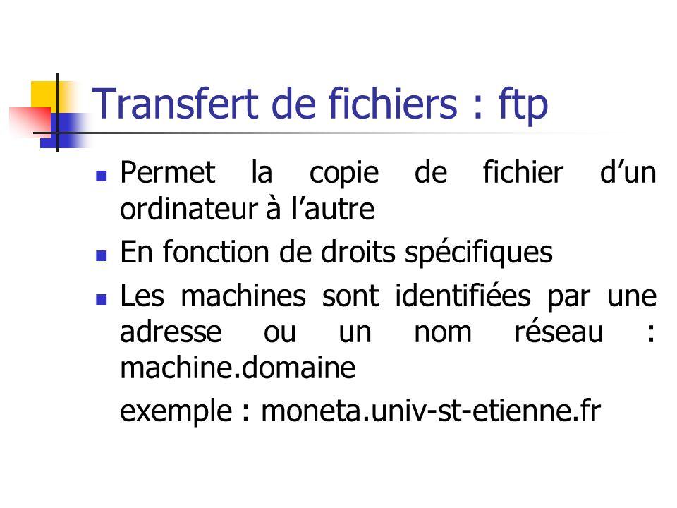 Transfert de fichiers : ftp