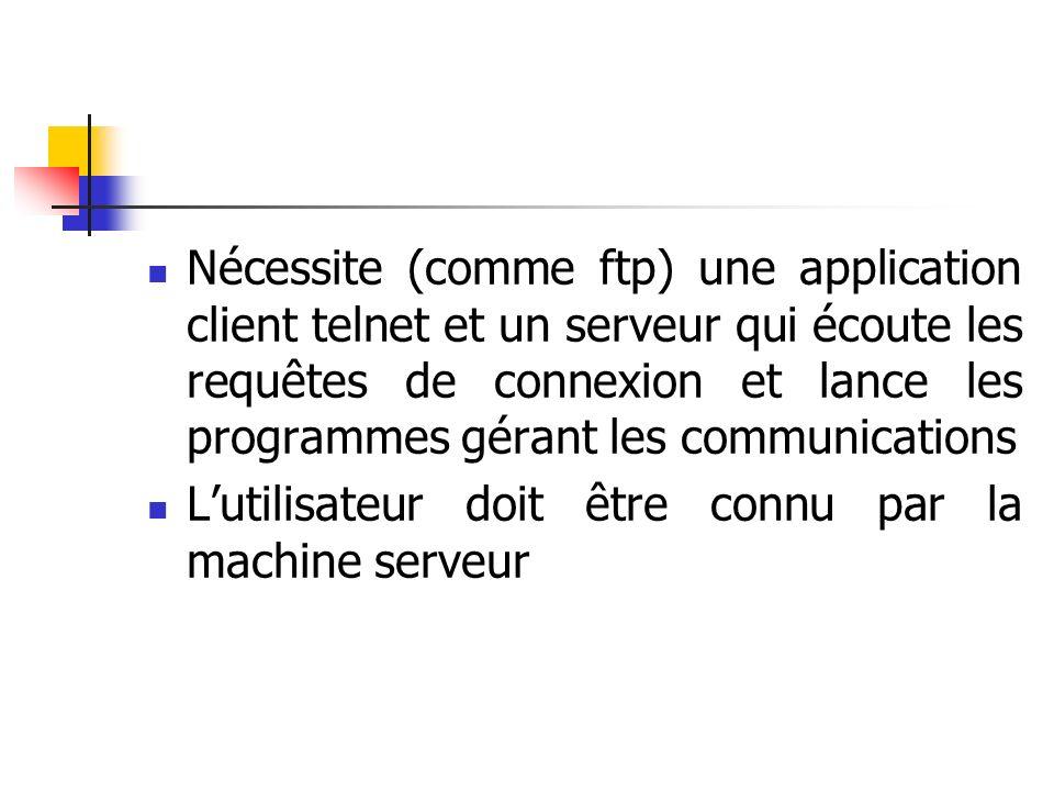 Nécessite (comme ftp) une application client telnet et un serveur qui écoute les requêtes de connexion et lance les programmes gérant les communications