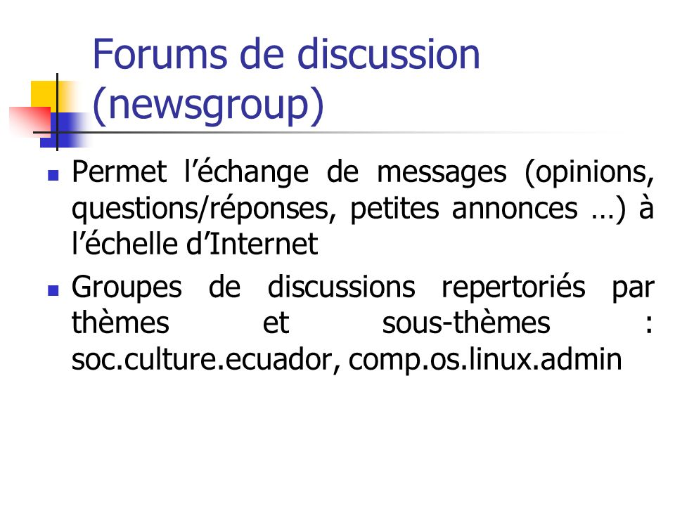 Forums de discussion (newsgroup)
