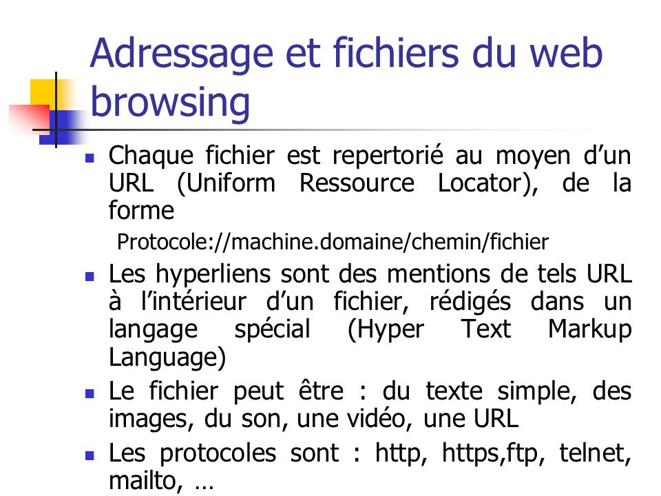 Adressage et fichiers du web browsing