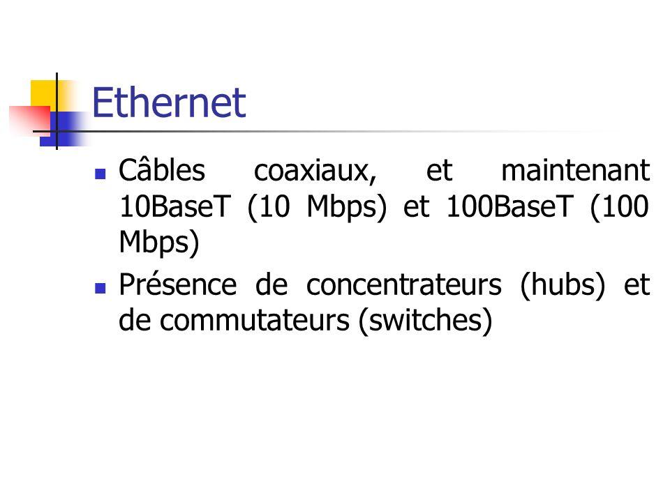 Ethernet Câbles coaxiaux, et maintenant 10BaseT (10 Mbps) et 100BaseT (100 Mbps) Présence de concentrateurs (hubs) et de commutateurs (switches)