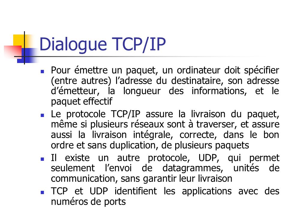 Dialogue TCP/IP
