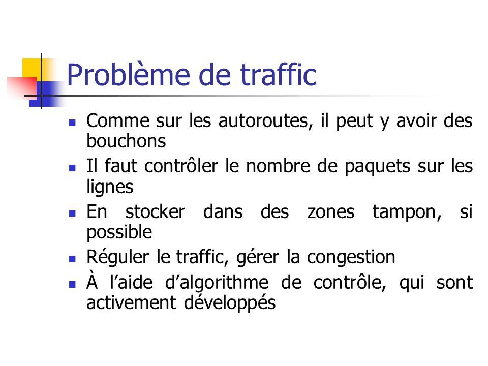 Problème de traffic Comme sur les autoroutes, il peut y avoir des bouchons. Il faut contrôler le nombre de paquets sur les lignes.