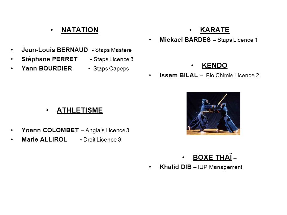 NATATION ATHLETISME KARATE KENDO BOXE THAÏ –