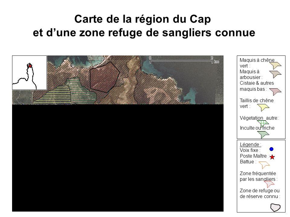 Carte de la région du Cap et d'une zone refuge de sangliers connue