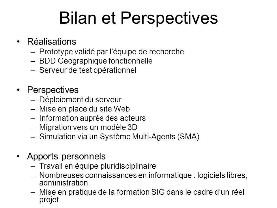 Bilan et Perspectives Réalisations Perspectives Apports personnels