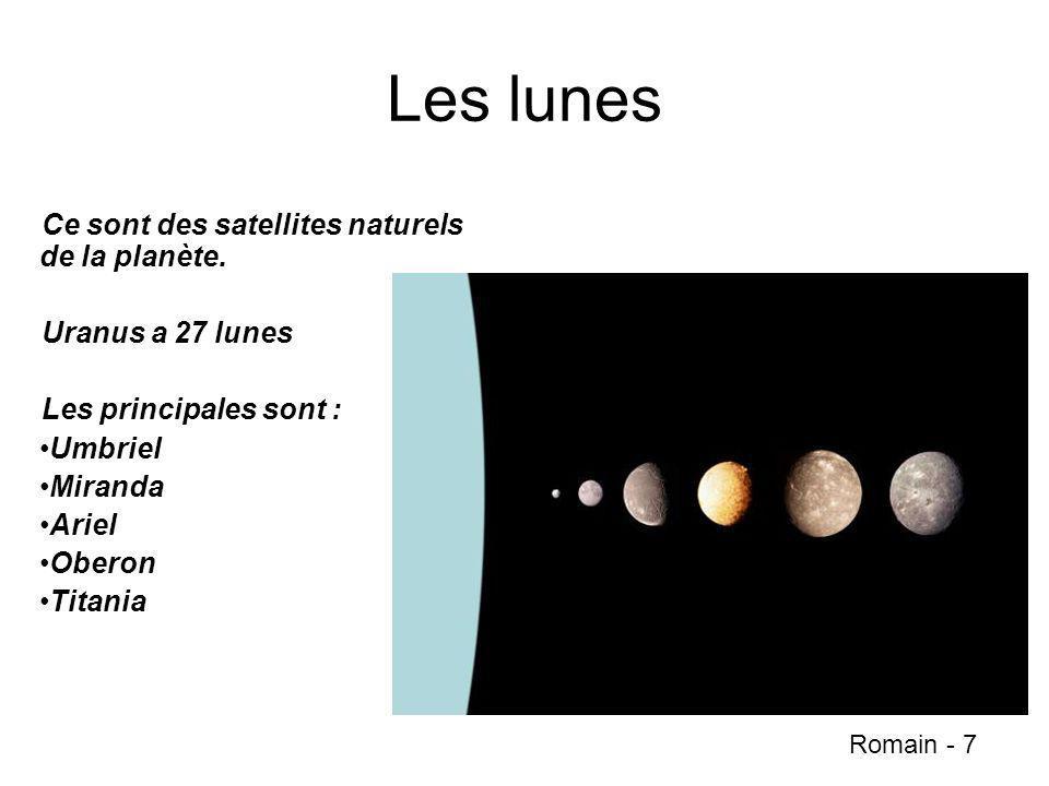Les lunes Ce sont des satellites naturels de la planète.