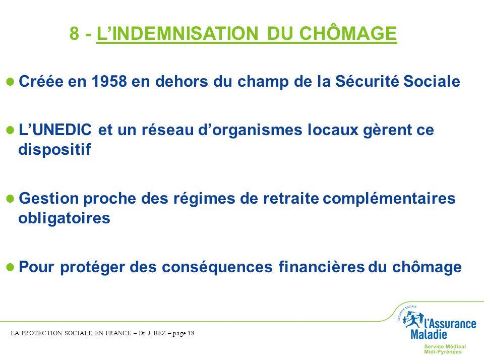 8 - L'INDEMNISATION DU CHÔMAGE