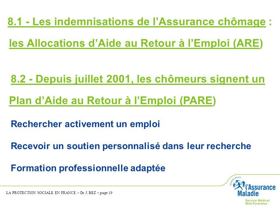 8.1 - Les indemnisations de l'Assurance chômage :
