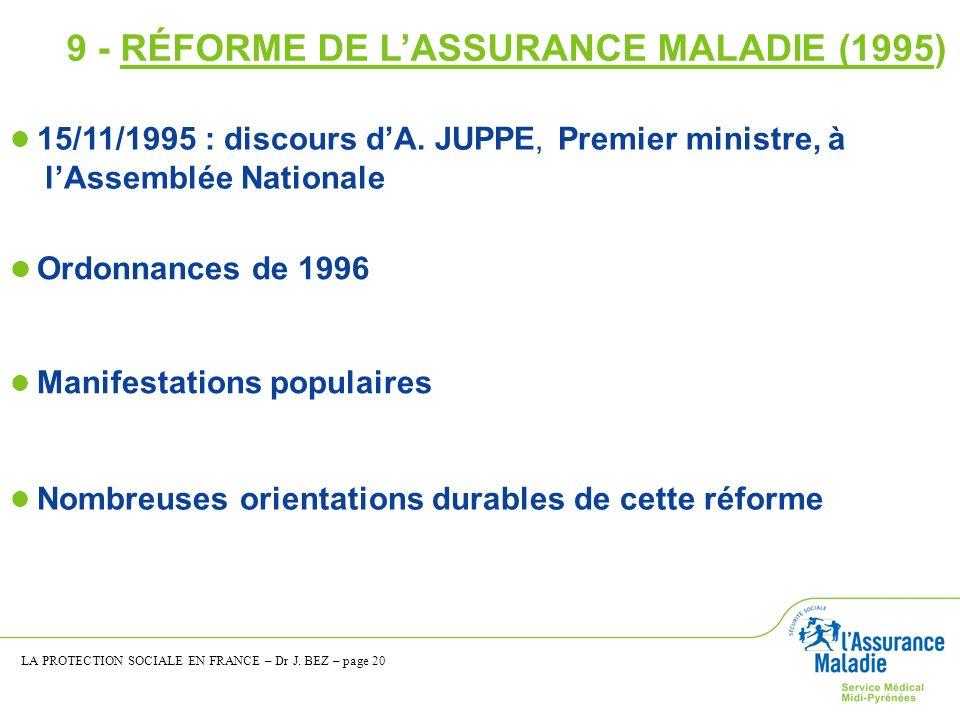 9 - RÉFORME DE L'ASSURANCE MALADIE (1995)