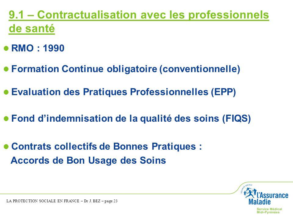 9.1 – Contractualisation avec les professionnels de santé