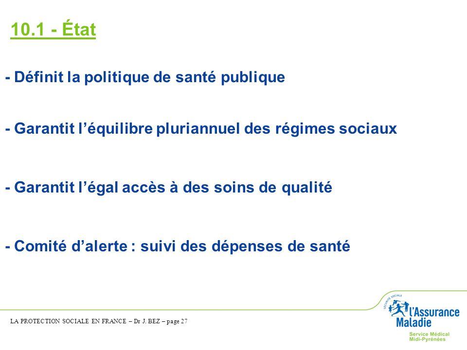 10.1 - État - Définit la politique de santé publique